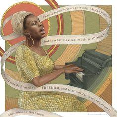 Nina Simone Art Print by Asya Mitskevich - X-Small Soul Jazz, Josephine Baker, Nina Simone Poster, Black Women Art, Black Art, African American Art, Beautiful Mind, Art Challenge, Figure It Out
