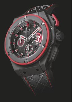 """Hublot Dwane Wad X King Power limited edition watch.  Inspired by Wade's career, the prominent """"3"""" represents his number on the court, the watch face has a """"basketball effect"""" to it, while the strap's stitching evokes a basketball net. Also, the King Power includes Wade's new logo. The limited series of 500 pieces are each individually numbered from 1/500 to 500/500."""