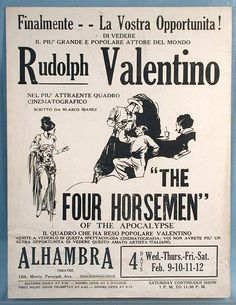 Rudolph Valentino Four Horsemen of the Apocalypse Theatre Flyer Poster MGM 1921