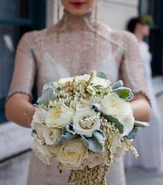 white bridal bouquet with garden roses and pieris ♥