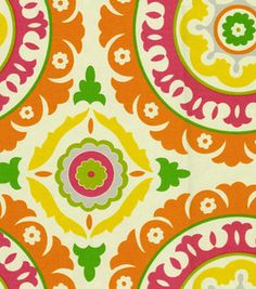 Waverly Modern Essentials Fabric-Solar Flare / Fruit Punch