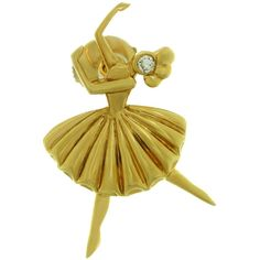 This gorgeous vintage Van Cleef & Arpels pin is crafted in yellow gold as Arabesque ballerina in a fluted tutu accented with a brilliant-cut diamond of an estimated carats. Made in France circa Measurements: width, length. Diamond Flower, Emerald Diamond, Diamond Cuts, Uncut Diamond, Antique Brooches, Gold Brooches, Diamond Brooch, Diamond Pendant, Diamond Rings
