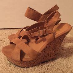 Brown cork wedges Light tan wedges with cork heel. Never worn. Shoes Wedges