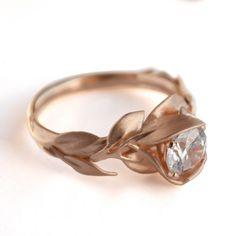 Leaves Engagement Ring, 18K Rose Gold and Diamond engagement ring, engagement ring, leaf ring, filigree, antique,art nouveau,vintage by DoronMeravWeddings on Etsy https://www.etsy.com/listing/170815022/leaves-engagement-ring-18k-rose-gold-and