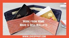 In Today's post you will learn how to make money making and selling Leather or fabric wallets. Make And Sell, How To Make Money, Fabric Wallet, Canvas Wallet, Wallet Pattern, Straight Stitch, Work From Home Moms, Hole Punch, Money From Home