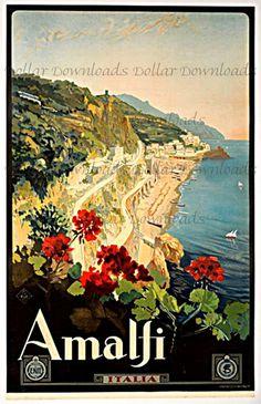 Amalfi Coast Italy Vintage Travel Poster by DollarDownloads, $1.00