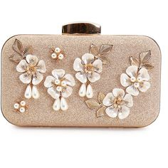 Floral Golden Evening Clutch ($49) ❤ liked on Polyvore featuring bags, handbags, clutches, golden handbags, evening clutches, flower print handbags, holiday handbags and golden clutches