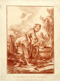 A washerwoman, doing the laundry in a wooden vat. After: François Boucher Published by: Gilles Demarteau 1756-1776