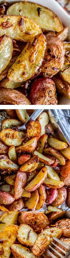 3 Ingredient Roasted Potatoes with Crunchy Onions from The Food Charlatan! These tender potatoes are easy and done SO fast because instead of adding a whole bunch of spices to make them delicious you just dump on some onion soup mix and throw it in the Onion Recipes, Vegetable Recipes, Vegetarian Recipes, Cooking Recipes, Grilled Potato Recipes, Soup Recipes, Baby Potato Recipes, Fast Dinner Recipes, Cooking Fish