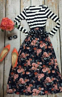 I love stripes, I love flowers, I love orange...and together are super!!! #springwear #striped #fashionstyle #holidaystyle #mystyle