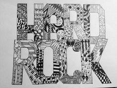 Hard rock drawing zentangle