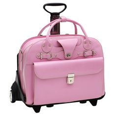 McKlein Roseville Checkpoint-friendly 15.4-inch Rolling Laptop Briefcase. Prevent back strain and arrive to class looking stylish with this high-quality laptop briefcase by McKlein. This bag is made from Italian leather and features removable wheels. It comes in various colors. You're unlikely to mix up your nursing school bag with this pretty-in-pink selection @iStudentNurse #McKlein #Briefcase #Pink #Nursing