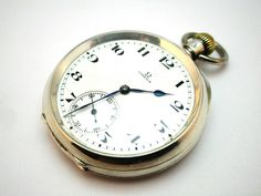 c1919 ANTIQUE ART DECO SILVER CASED OPEN FACE OMEGA POCKET WATCH, LEATHER CASE