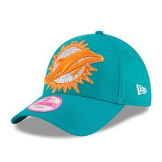 Women s Miami Dolphins New Era Aqua Glitter Glam 2 9FORTY Adjustable Hat cb4ed46a9