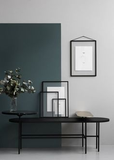 Two toned walls in muted teal and gray