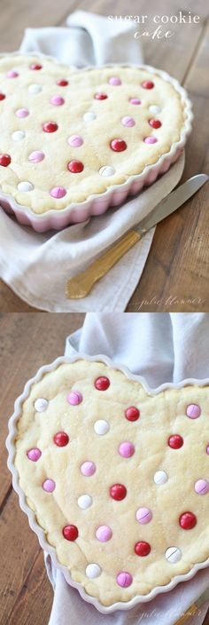 An incredibly good and incredible easy sugar cookie cake recipe - made with love. This cookie cake is soft, chewy and always a crowd pleaser!