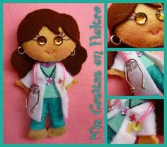 MONIGOTAS ENFERMERAS Y DOCTORAS DE FIELTRO (BROCHES)