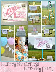 Bonfires and Wine: A Country Fair Carnival Party. A well-thought birthday theme and great use of personalizing printable templates to make them truly unique. I love the painted bottles and burlap backdrop too!