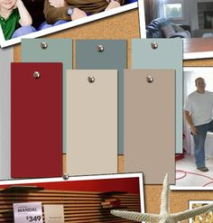 """Paint colors From Benjamin Moore: """"Wedgewood Gray,"""" """"Templeton Gray,"""" and """"Stratton Blue"""". From the Lowe's Earth Elements Collection: """"Dust Storm"""" and """"Swoosh."""" From Behr: """"Cherry Tree"""" for the perfect red front door!"""