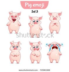 Vector Set of Pig Characters Set 3 Cartoon Pics, Cartoon Drawings, Cute Cartoon, Animal Drawings, Three Little Pigs, This Little Piggy, Facial Expressions Drawing, Pig Character, War Pigs