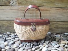 Vintage 60s HANDBAG / STRAW and LEATHER bag / John Romain by RelevantObjects