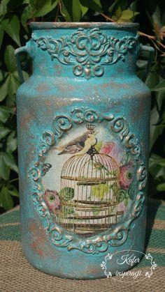 Kanka 3   Kufer inspiracji Tin Can Art, Decoupage, Jar, Canning, Home Decor, Mason Jar Vases, Vase Crafts, Recycling, Craft Ideas
