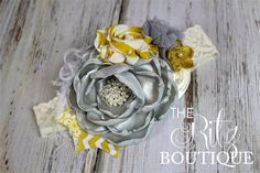 Gray Ivory Mustard Headband photo prop feather by TheRitzBoutique, $22.99