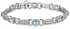 Sterling Silver Checker-Board Oval-Shape Blue Topaz with White Diamond Bracelet Amazon Collection http://www.amazon.com/dp/B00NQ7RN6S/ref=cm_sw_r_pi_dp_02tRvb0892C95