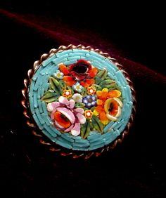 Italian Micro Mosaic Brooch Floral Design | eBay