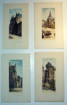 4 Antique Hand Coloured Etchings of Paris by Leopold Robin in Art, Prints, Modern (1900-79) | eBay