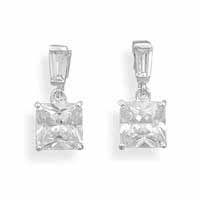 .925 Silver Catalog: 7mm Square CZ Lever Back Earrings