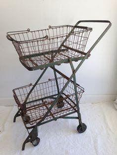 2a78038db Vintage Metal Grocery Cart