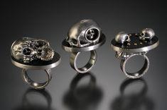 "YURI TOZUKA NEST II, NEST I, DIALOGUE, RINGS Sterling silver, jet, fine silver, 22K gold 1.5"" x 1"" x 1.5-1.75"""
