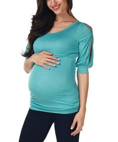 Look at this #zulilyfind! Blue Maternity Cutout Top - Women by PinkBlush Maternity #zulilyfinds