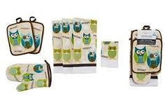 The Mainstays Owl Kitchen Set offers a fun and cute owl pattern to add to your kitchen. The set includes three kitchen towels, two potholders, one oven mitt and one dishcloth. - Machine washable