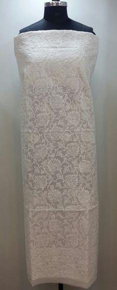 Lucknowi Chikankari Online Kurta Length white on white cotton with very fine chikankari murri, shadow & kangan work with designer daaman & full embroidered sleeves