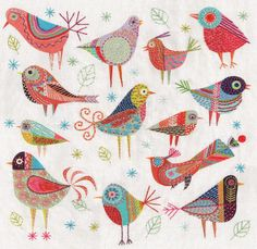 Nancy Nicholson - Bird Dance Cushion flat panel 40 x 40 cm square