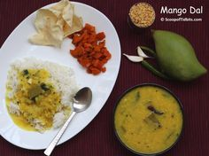 Mango Dal or Raw Mango Dal also known as Mamidikaya Pappu is a tangy lentil preparation made with tur dal or arhar dal and raw mangoes. Green and red chill