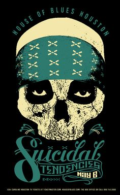 Suicidal Tendencies Suicidal Tendencies ☮ Heavy metal rock music concert psychedelic poster ☮
