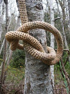 Artist: Barbara de Pirro 'vine plastica' - crocheted plastic bags, temporary installation Heaven & Earth, Carkeek Park, CoCA Seattle, WA...