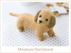 Japanese Felt Wool Dog Kit Package -  Miniature Dashshund DIY handmade Gift