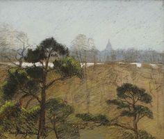 thunderstruck9:  Eugène Jansson (Swedish, 1862-1915), Utsikt mot Katarina från Djurgården [View of the Katarina Kyrka from Djurgården]. Pastel, crayon and pencil on paper, 22 x 25.5 cm.