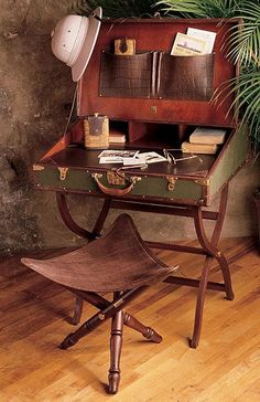 British Colonial Campaign Furniture: Topee hat, campaign desk and stool. - British Colonial Campaign Furniture: Topee hat, campaign desk and stool. Vintage Suitcases, Vintage Luggage, Vintage Travel, Vintage Suitcase Decor, Vintage Market, Vintage Decor, British Colonial Decor, British Decor, Campaign Furniture