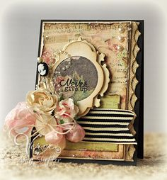 Pickled Paper Designs: Never Give Up - DS72Love the combination of frilly papers and black accents.