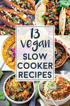 Get cozy this winter and bust out your Crockpot for these Vegan Slow Cooker recipes! Lots of hearty chills, soups & even oatmeal. Perfect for cold nights! #veganRecipe