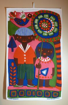 Venezuela, South America Hanging Kitchen Towel or Wall Hanging- Linen From Barbera