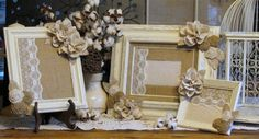 Wooden Frames Ivory and Natural Frames by ThrownTogether on Etsy