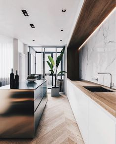 Nadire Atas on Sleek Modern Kitchen and Bathroom Marble Decor To Die For Minimal Interior Design Inspiration Interior Design Examples, Interior Design Inspiration, Design Ideas, Design Design, Design Trends, Farmhouse Style Kitchen, Modern Farmhouse Kitchens, Galley Kitchens, Farmhouse Sinks