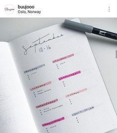 weekly log minimalist pour Bullet journal