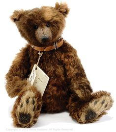 Anita Hill Smudge Artist Teddy Bear, Dark Brown Mohair